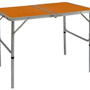 AMANKA Tavolino da PICnic 90x60x70cm Tavolo da Campeggio Struttura in Alluminio Altezza Regolabile Pieghevole Formato Valigia bamb