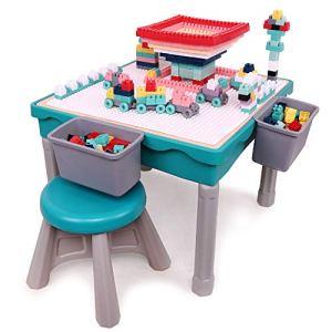 Arkmiido Set di Tavolo da Gioco Multiattivit per Bambini Set Tavolo Bambinicon 200 Blocchi di plastica