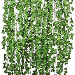 Attvn Edera foglie ghirlanda artificiale piante  12 Pack 84 Ft ghirlanda artificiale edera fogliame verde foglie falso appeso pianta di vite