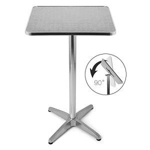 BAKAJI Tavolino in Alluminio per Esterno Pieghevole 60 x 60 cm con Altezza Regolabile 70110cm Tavolo Bistrot Ripiano Top in Acciaio Inox Quadrato per Bar Casa Giardino Ristorante Silver