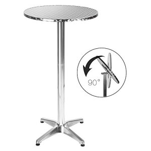 BAKAJI Tavolino in Alluminio per Esterno Pieghevole 60 x 70110cm Regolabile in Altezza Tavolo Bistrot Ripiano Top in Acciaio Inox Rotondo per Bar Casa Giardino Ristorante Silver
