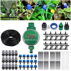CAMWAY 25 M Set Irrigazione a GocciaSistema di Micro Irrigazione da Giardino DIYTimer per irrigazione Giardino Automatico Giardino Irrigazione a Goccia per Piante da Serra Aiuole Patio Prato