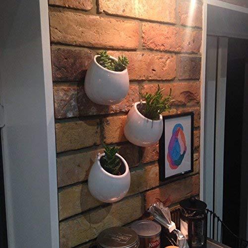 Ceramica Vasi da Appendere a Parete Set di 3 Fioriera Vasi Pianta da Parete Ceramica Vaso Appeso Vaso per Casa e Giardino Veranda Finestra Decorazione Interni ed Esterni Nozze DavanzaleBianco
