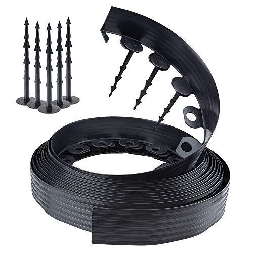 Chrispol System Bordura per aiuole Nero Lunghezza 10 Metri Altezza 6 Centimetri  Bordi per aiuole Flessibile  bordura per Giardino plastica  60 Chiodi di Fissaggio