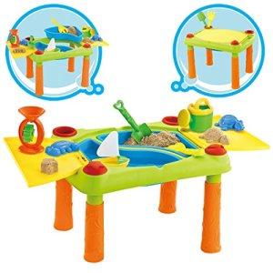 deAO Tavolo da Gioco con Acqua e Sabbia attivit per Bambini allAperto Tavolo con Due Compartimento e Copertura Doppia Include 12 Accessori