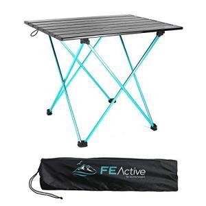 FE Active Tavolo Pieghevole Compatto  In alluminio Progettato come Tavolo da Campeggio Portatile Ultraleggero per Spiaggia Escursionismo Campeggio Sport Pesca Giardino  Disegnato in California