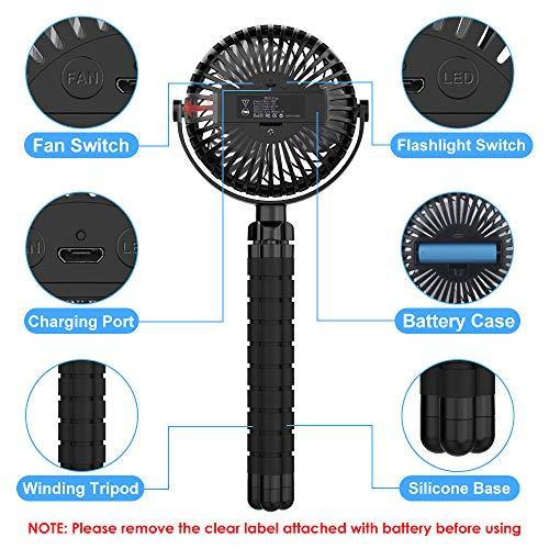 FITA Ventilatore USB Portatile Ventilatore da Tavolo 3 Velocit Rotazione a 360  Batteria da 2500 mAh Ricarica USB Desk Fan con Luci a LED per Passeggino Bike Camping BBQ Gym