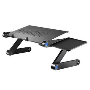 Kiss Tavolo pieghevole in lega di alluminio leggero con piattaforma mouse Nero