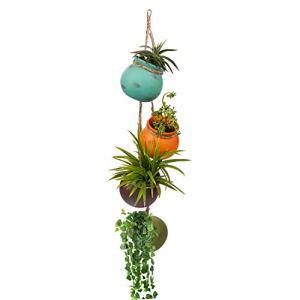 Porta Vasi da Appendere 4 Pezzi  Porta Piante da Appendere in Ceramica Multicolore  Fioriera da Appendere per Montaggio a Parete o Soffitto con Corda di Iuta  Perfetti per Interni ed Esterni