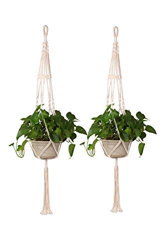 Set di 2 portavasi a sospensione in macram fatti a mano in cotone e corda adatti anche per esterni decorativi da appendere alle pareti 889 cm