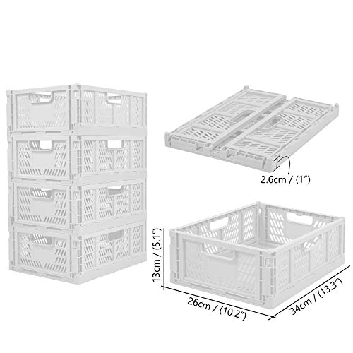 Set di 4 contenitori in plastica pieghevoli per alimenti frutta verdura snack bottiglie giocattoli articoli da toeletta casa cucina ufficio dispensa organizer