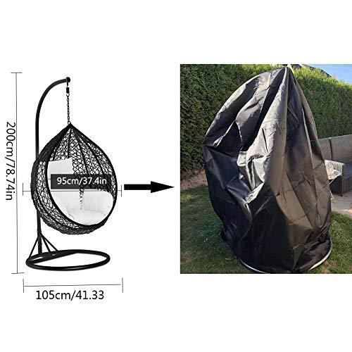 SIRUITON Coperture per Wicker Sedie Sospese Poltrona Pensile Giardino Impermeabile 420D Oxford Copertura  Nero 105x95x200115 cm