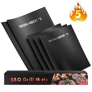 WayEee Set di 5 Barbecue Grill Mat Tappetini da BBQ Griglia Resistente al Calore Antiaderente Riutilizzabili Tappeto per Griglia a Carbone Forno Forno a Microonde Adatto per Carne Pesce Verdure