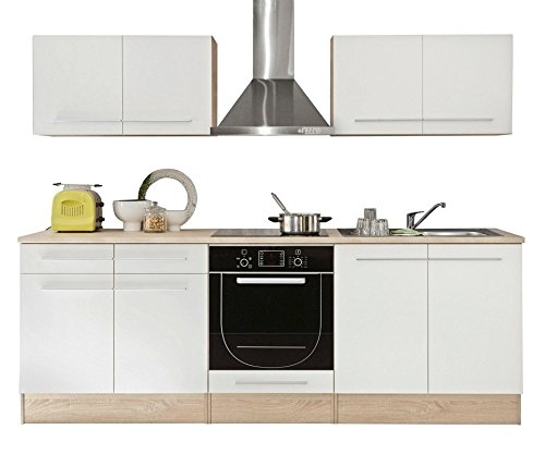 AVANTI TRENDSTORE  Bomi  Cucina in laminato di quercia Sonoma e bianco opaco apparecchiature elettriche NON comprese dimensioni LAP 240x204x60 cm