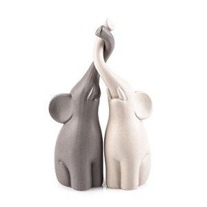 Pajoma  Coppia di Statuette in Ceramica a Forma di elefantini Altezza 255 cm Grigio