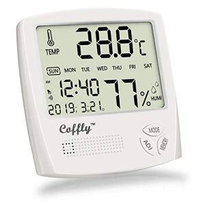 Coffly Termometro Igrometro Digitale Termoigrometro Interno con Funzione Sveglia Orologio e Calendario Misuratore di umidit e Temperatura Ambiente