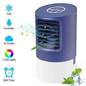 Condizionatore Portatile TedGem Climatizzatore Portatile Mini Condizionatore Portatile 4 in 1 Aria Condizionata Umidificatore Ventilatore da Scrivania 7 Luci LED 3 Velocit per Casa e Ufficio