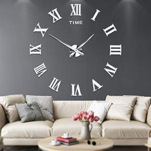 Grande orologio da parete adesivo con numeri romani 3D a specchio muto decorazione per casa e ufficio da montare come vuoi Argento