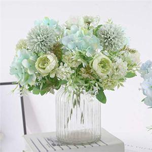 Hzaming  Bouquet di ortensie piccole peonie garofani in seta con rametti di plastica decorazione realistica fiori artificiali per matrimoni centrotavola 2 confezioni Verde chiaro
