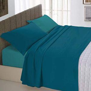 Italian Bed Linen Natural Color Completo Letto Double Face 100 Cotone Verde PetrolioVerde Bottiglia Singolo