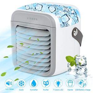 LISOPO Condizionatore Portatile Personale Rechargeable Air Cooler 4 en 1 Aria CondizionataEvaporativo Umidificatore Purificatore LED Silencioso 3 Velocit