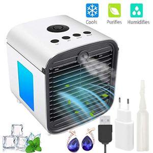 Mini Condizionatore Portatile Air Cooler Raffrescatore Evaporativo Aria Condizionata Portatile Casa con 3 Velocit Display Digitale a LED per CasaUffici
