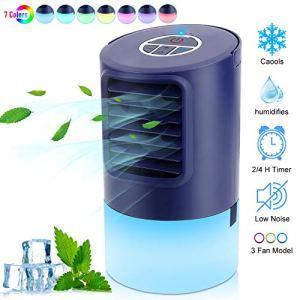Mini Raffreddatore Daria Condizionatori Portatili PersonalAir Cooler 4 IN 1 Evaporativo Umidificatore Purificatore Ventilatorecon 3 VelocitTimer 24h 7 Colori LuceBasso Rumore per Casa Ufficio