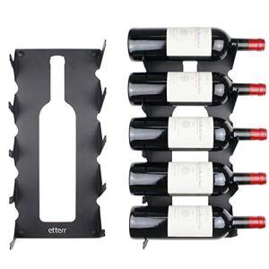 Portabottiglie in acciaio per tutti i tipi di vini con fissaggio a parete e guarnizioni Minimalista Nero