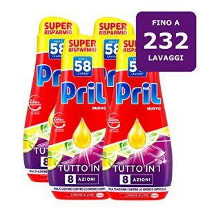 Pril Gel All in One Limone Detersivo Lavastoviglie Liquido MultiAzione Sporco Difficile 4 Confezioni da 58 Lavaggi