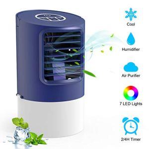 TedGem Climatizzatore Portatile Mini Condizionatore Portatile Usb 4 in 1 Aria Condizionata Umidificatore Ventilatore da Scrivania 7 Luci LED 3 Velocit per Casa e Ufficio