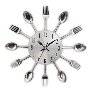 TimeLike  Orologio adesivo 3D da cucina effetto specchiato con motivo forchette e cucchiai rimovibile da arredamento 32324CM argento