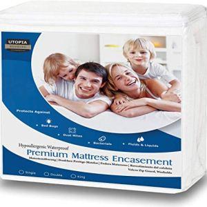 Utopia Bedding Coprimaterasso Impermeabile  Protezione Materasso Premium con Cerniera  Altezza Materasso 2535 cm  Protezione da Liquidi Insetti e Acari 90 x 190 cm