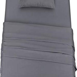 Utopia Bedding  Set Lenzuola Letto  Spazzolata Microfibra  Lenzuola e 1 Federa  per la Letto 90 x 190 cm Grigio Singolo