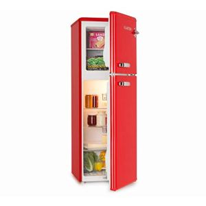 KLARSTEIN Audrey  Frigo e Congelatore Combinati Freezer 39 Litri Frigorifero 97 Litri 3 Ripiani Frigo 2 Ripiani Freezer Classe Energetica A 41 dB Look in Stile Retr Rosso