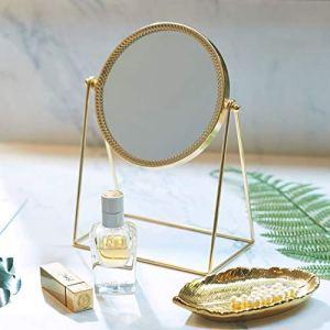 PuTwo Specchio da Trucco Ornato e Decorativo Specchio Cosmetico in Stile Principessa a Lato Singolo Color Oro Champagne