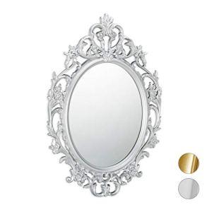 Relaxdays Vintage Barocco Ovale da Parete Specchio Antico Design Moderno Argento PP Vetro Cartone 84 x 57 x 3 cm