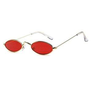 Aolvo  Occhiali da sole piccoli ovali stile vintage eleganti rotondi HD per uomini donne e ragazze Gold Frame Red Lens
