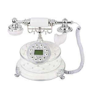 ASHATA Telefono Cablato in Design retr Telefono Fisso VintageTelefono Design retrTelefono Fisso CablatoTelefono Vecchio Compatibile con FSKDTMF per Soggiorno Ufficio Hotel