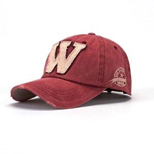 Cappellini con Visiera da baseball HipHop Unisex DoraMe Berretto mimetico da uomo e da donna estivi Le lettere W fanno il vecchio cappello Rosso