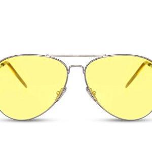Cheapass Occhiali da Sole da Pilota Montatura dArgento e Lenti Trasparenti Colorate Gialle Categoria 2 UV400 Protezione