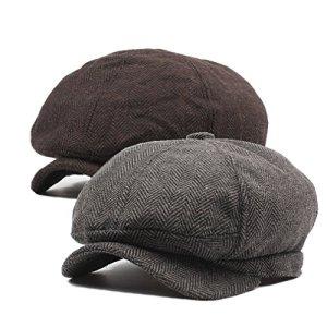 DecStore Pacco di 2 Uomo Cotone Cappuccio Berretti Edera Cappelli Guida Cappelli Invernale Vintage Beret HatBrownCoffee