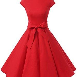 Dressystar Vestito stile Audrey Hepburn a maniche corte vintage anni 50 e 60 rosso S