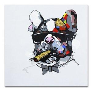 Fokenzary dipinta a mano pittura Bulldog fumo sigaro su tela pop art decorazione della parete incorniciato pronto da appendere Tela 16x16in