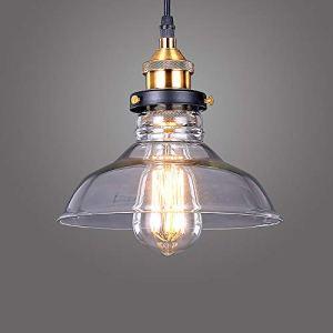 Glighone Lampada a Sospensione Stile Edison Vintage Industriale Lampadario da Soffitto Paralume in Vetro Attaco E27 lampadina non inclusa