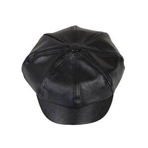 OULII Cappello Visiera Unisex Berretto invernale PU pelle Artificiale OttagonaleNero