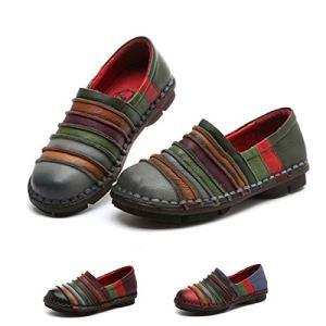 Socofy Donna Mocassini in Pelle Donne Loafers Comode Slip On Scarpe Casual Shoes Vintage Unico Strisce Contrasto Colore Ballerine Casual Espadrillas Scarpe