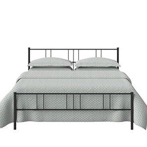 The Original Bed Co Letto in Metallo Mortlake Struttura Letto in Ferro con Doghe in Legno 135 x 190 cm Nero Satinato