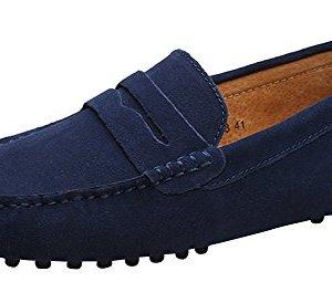 YAER Classic Scarpe da Uomo Mocassini Slip On Penny Loafers Blu Suro EU44