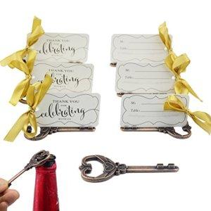 50 pz Multi Funzione Vintage Scheletro Chiave Apribottiglie Posto Titolari di Carta Per Matrimoni Tavolo Nome Carte Per Ospite Memoria Rame Antico