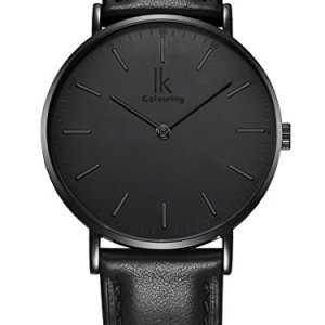 Alienwork IK All Black Orologio Unisex Uomo Donna Cuoio nero Analogico Quarzo Impermeabile Ultrasottile Slim